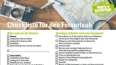 Urlaubscheckliste + Packliste für Fotografen