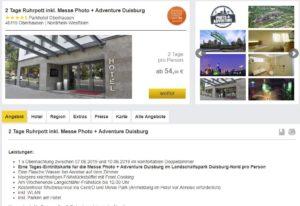Reisehummel: Angebot Hotel-Arrangement mit dem Parkhotel Oberhausen